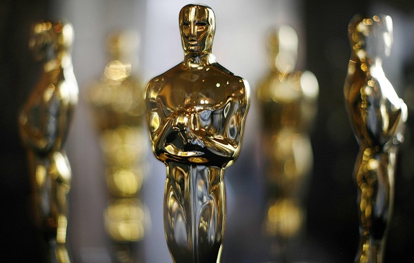 Actual Oscar statuettes to be presented during the 80th Annual Academy Awards sit in a display case in Hollywood