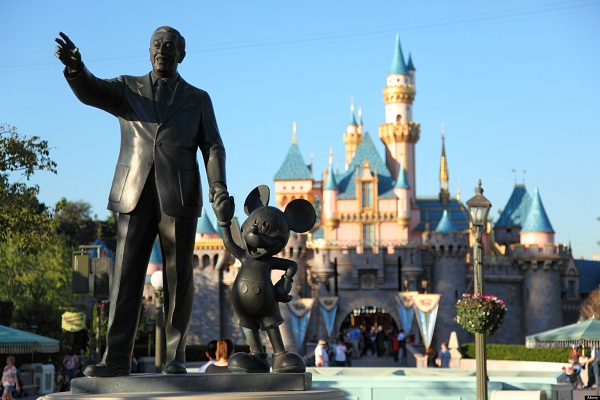 Walt Disney and Mickey Mouse statue at Disneyland California.